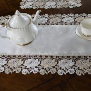 NEW Cream Beige Rose Lace Table or Dresser Runner